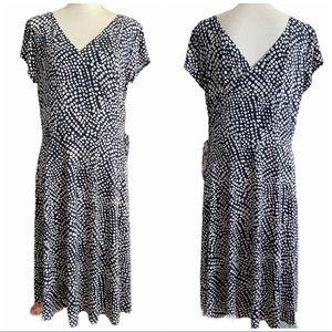 Tribeca Studio Blue Polka Dot Faux-wrap Dress Lg